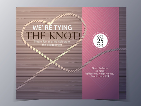 tie the knot on wood background concept  wedding invitation card vector template Vector