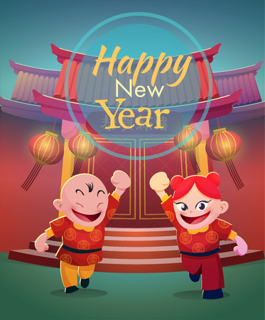 happy chinese kids on chinese temple background vector illustration for use as  background for card, flyer,poster Vector