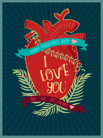 stylize: retro stylize  heart and ilove you text for use as card,poster,or flyer
