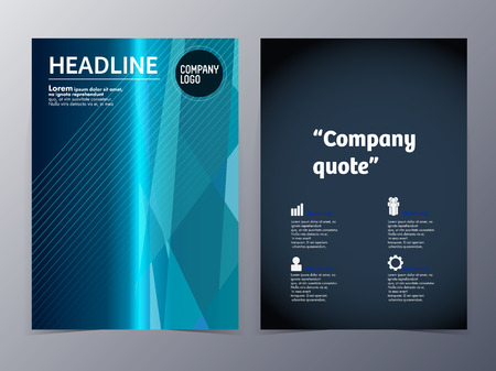 abstract blue geometric pattern brochure design template vector mock up for use as company anual report, poster,flyer