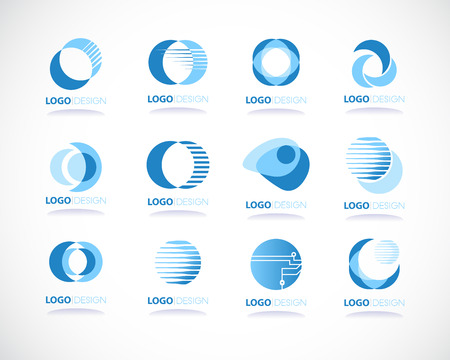 blue sphere: set of abstract blue vector icon in sphere shape represent technology  or futuristic concept Illustration