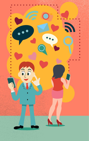 internet dating: online dating concept , represent love over the internet ,people connect by phone or computer application