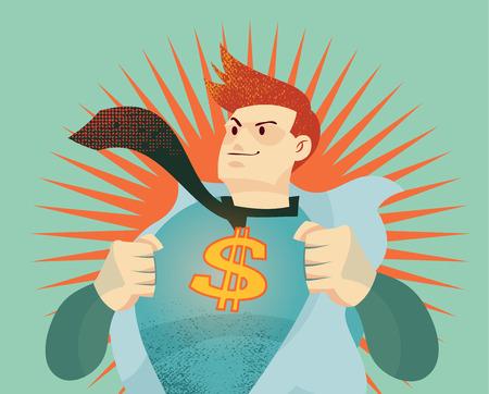 dollaro: giovane uomo d'affari che strappa la sua camicia con noi il segno del dollaro rappresentano valuta soldi guerra, il cambiamento economico