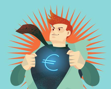 ユーロのドル記号と彼のワイシャツを引き裂く青年実業家お金通貨戦争、経済的な変化を表す