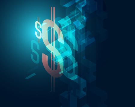 represent: dark blue dollar sign element represent technology and financial