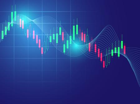 주식 시장 차트 벡터 일러스트 레이 션 배경은 주식 시장의 추세를 나타내는