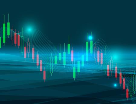 株式市場の傾向を表す株価チャート ベクトル イラスト背景