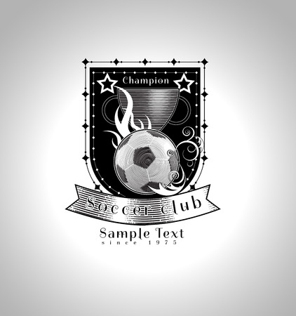 footbal: vintage footbal club insignia vector illustration in classic engraving style