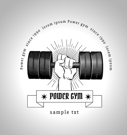 Vector illustration of a dumbbell with burst light rays. fitness or bodybuilding gym design template