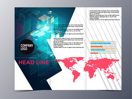 abstract colorful geometric pattern brochure design template vector mock up for use as company annual report, poster,flyer Фото со стока - 38649759
