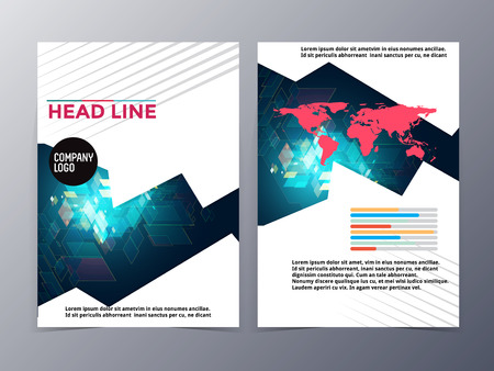 abstract colorful geometric pattern brochure design template vector mock up for use as company annual report,  poster,flyer