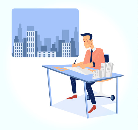 charactor: architect working on blueprint with office building background vector illustration