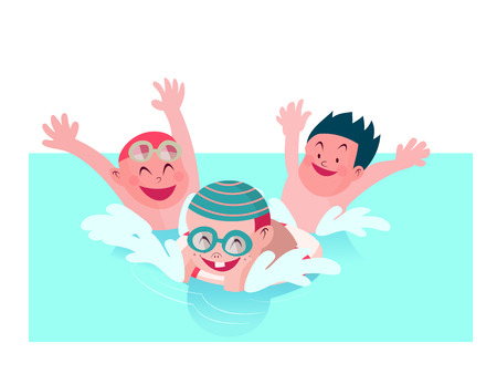 young boy in pool: group of kids enjoy playing together in swimming pool vector illustration