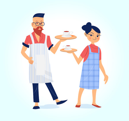 barista: happy hipster male and female barista with coffee vector illustration
