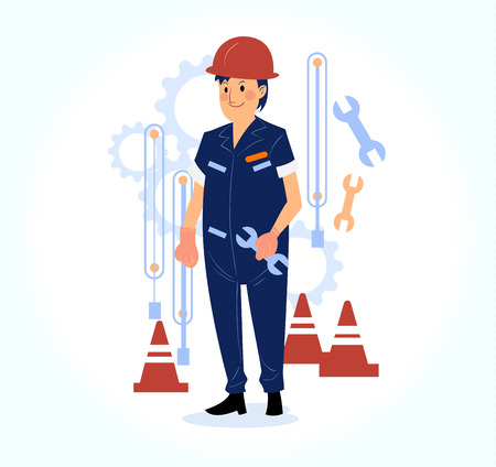 charactor: happy male engineer working on site Illustration