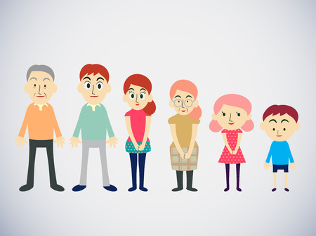 parents and children: Big cartoon family with parents, children and grandparents, vector illustration Illustration