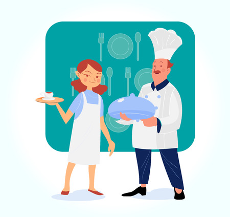 charactor: male and female Chef serving the dish