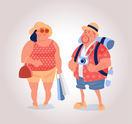 charactor: happy mid age western tourist with backpack and shopping bag