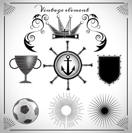 collection of vintage element clip art  vintage style vector illustration for use to design logo, emblem. Vector