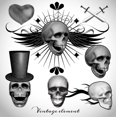 sport club: set of vintage skull tattoo vector illustration  in classic engraving style for use as for racing team , sport club,music band