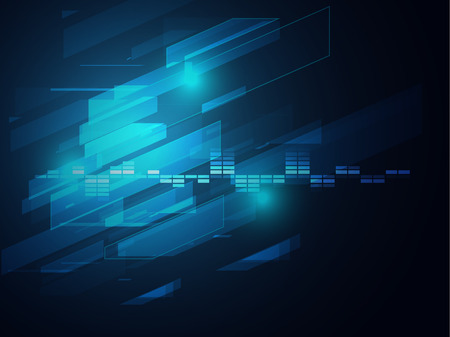 electronic background: blue circle and rectangle equalizer sound bar  abstract illustration Illustration