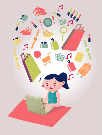 happy shopper: young woman shopping online with a credit card and computer by internet e-commerce ,woman with her shopping item include shopping bags,cosmetics,watch,shoes Illustration