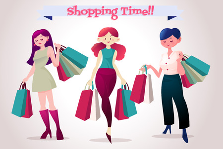 pretty young girl: group of young pretty woman with shopping bag enjoy shopping Illustration