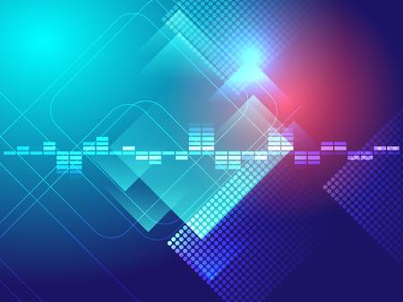 equaliser: blue circle and rectangle equalizer sound bar  abstract illustration Illustration