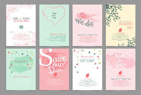 ビンテージ デザイン要素、背景、パターン、モノグラムの招待状、誕生日、バレンタインの日、パーティの招待状、結婚式用のセット