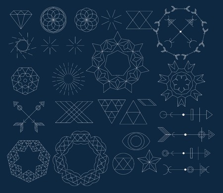 set of trendy geometric icon and design element and icon, Alchemy symbol , religion  ,spiritual concept Vector