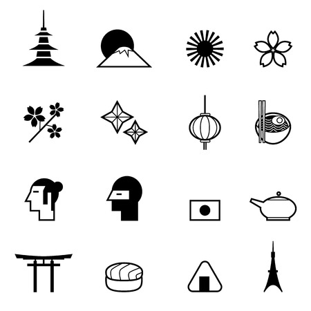 Japanese theme icon set vector illustration for use as part of infographic