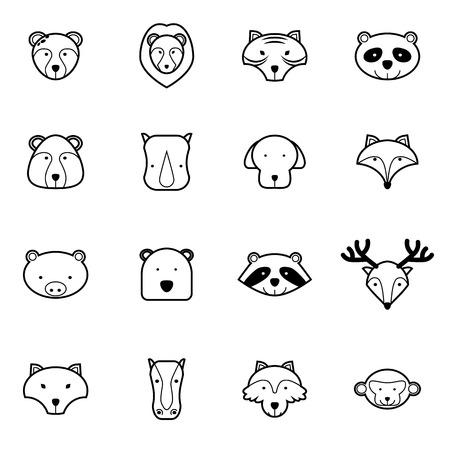 wild animal icons set vector illustration Vector