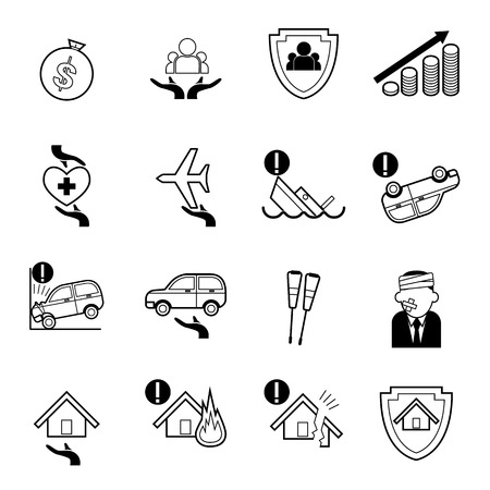 auto insurance: Vector insurance icons set,home insurance, family insurance,deposit insurance, auto insurance, life insurance,  insurance policy, travel insurance, business risk insurance