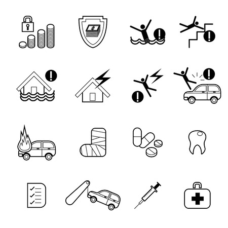 family policy: Vector insurance icons set,home insurance, family insurance,deposit insurance, auto insurance, life insurance,  insurance policy, travel insurance, business risk insurance