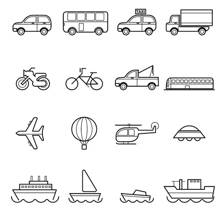 simple monochromatic vehicle and transportation related icons application design
