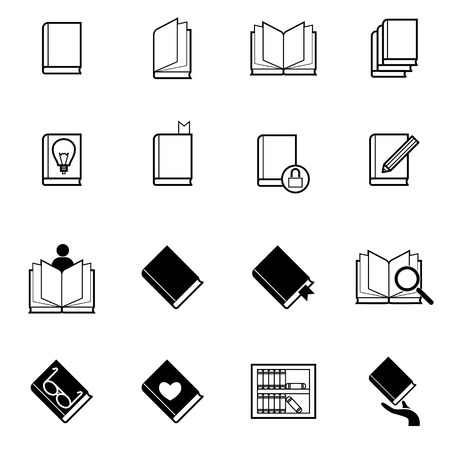 book reading: vector icons set of book and reading activity Illustration