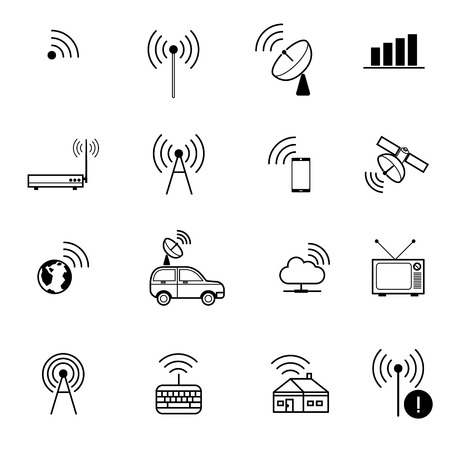 Set of  different  vector wireless and wifi icons for remote access and communication via radio waves antenna