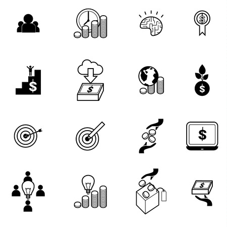 crowd sourcing: crowd funding and crowd sourcing concept icons set vector illustration Illustration
