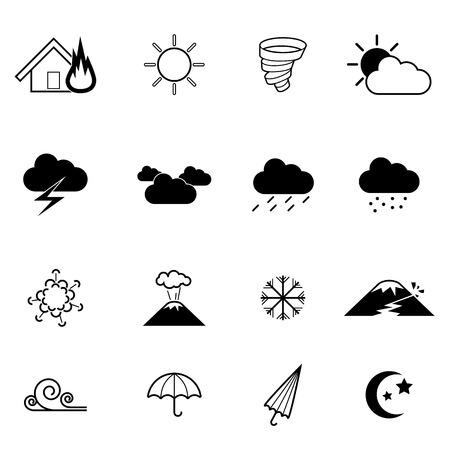 natural disaster: vector icon showing various natural disaster, flood,fire,tornado,valcano,earthquake