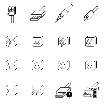 electric outlet,cable wire and plug icons set vector illustration Vector