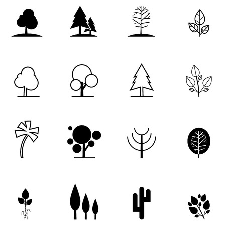 set of tree icons in different style Vector