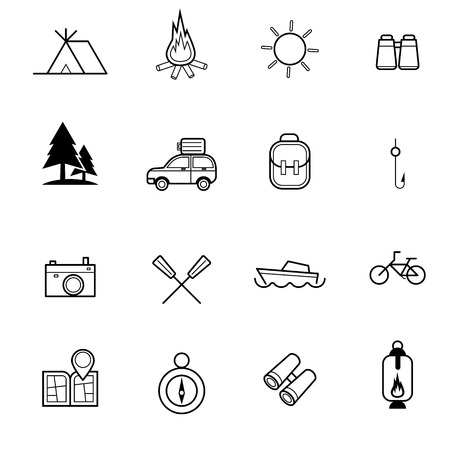 summer camping and traveling icon vector set Vector