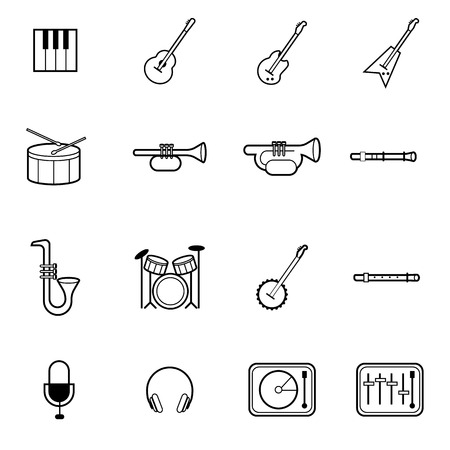 set: music instrumental vector icon Illustration