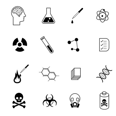 science physics,biology,biohazard and chemistry related vector icon set Vector