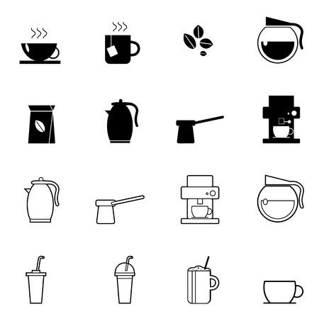 maquina vapor: café y la taza de té iconos conjunto ilustración vectorial para móviles, web y aplicaciones