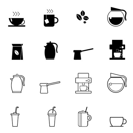 machine shop: coffee and tea cup icons set vector illustration For Mobile, Web And Applications