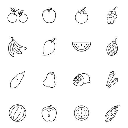 mango slice: set of  fruit thin line icon style vector illustration Illustration