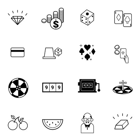wheel of fortune: casino and gambling icons set vector illustration For Mobile, Web And Applications
