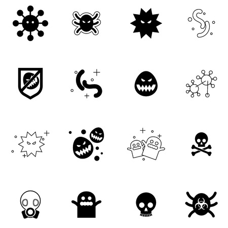 virus cell,bacteria icons set vector illustration For Mobile, Web And Applications 矢量图像