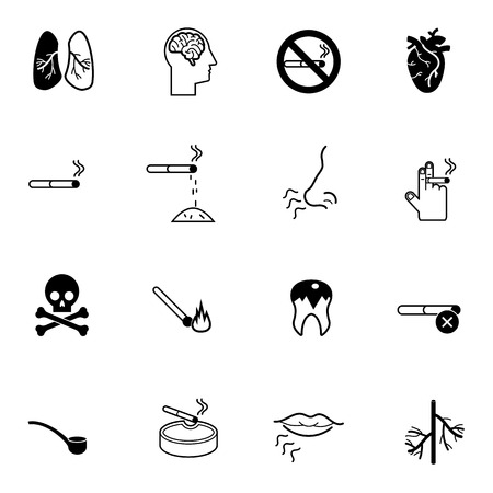 abstain: no smoking icons set vector illustration For Mobile, Web And Applications